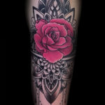 Pink Rose with mandala
